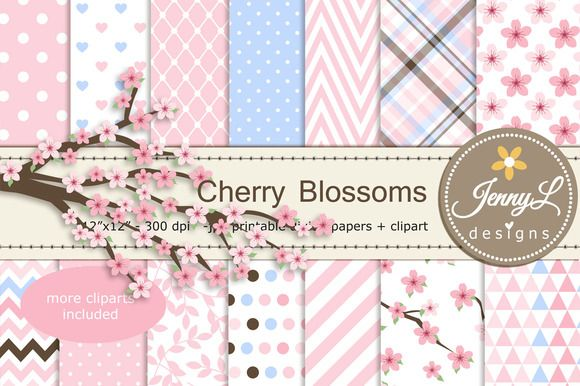 Cherry Blossoms Digital Paper by JennyL Designs on @creativemarket