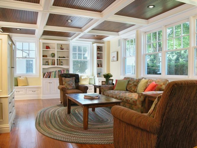 lovely living rooms beadboard | I love this beadboard ceiling with coffers. | Basement ...