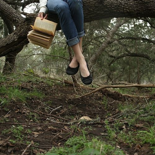 """He grabs her foot before proceeding to climb up the tree. """"Whatcha doin up her, bud?"""" her brother Danny asks. She smiles and scoots over so he can sit. """"Nothin."""""""