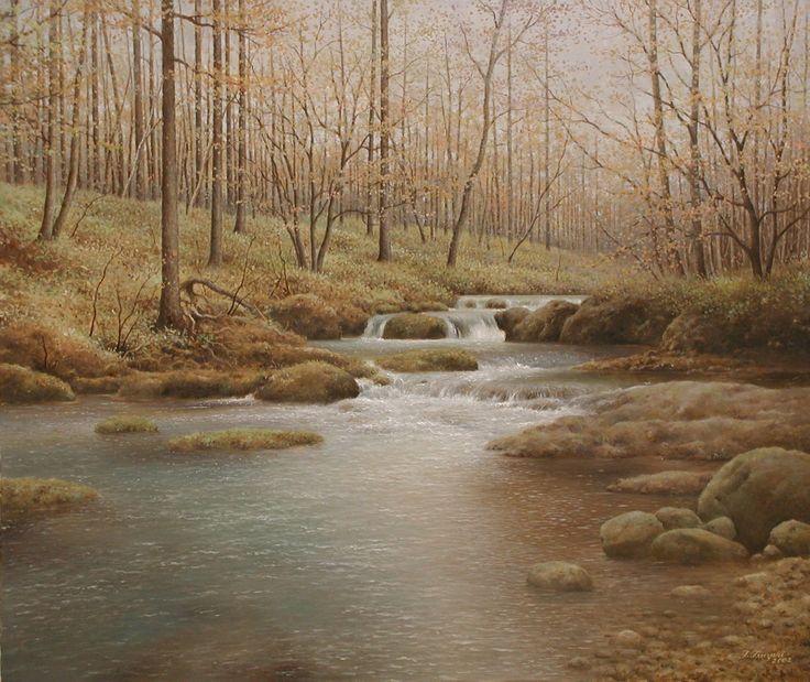 「 秋の清流 (湯川)」 続木唯道 油彩(F20号) 2003年 個人蔵   中禅寺湖に流れ込む川の一つ湯川の中流域に小田代ヶ原という湿原が広がっている。  有名な戦場ヶ原に接する小さな規模の湿原、というより草原化したミズナラの森で、その東側を湯川が流れている。  錦の紅葉を期待して行ったのだが、時すでに遅し晩秋の静かな風情に落ち着いていた。  ミズナラの森を歩いたり、湯川の川沿いを下って行って描きたいスポットを探した。  湿原になるくらいだから川の流れも穏やかで、所々で小さな滝というより段差を流れ下ってゆく様が奥ゆかしい。  この川がやがて中禅寺湖の手前で竜頭の滝となってその風貌を変える。 川の流れはいつも私を魅了してやまない。