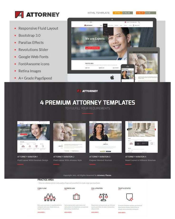 Attorney HTML/HTML5 Template available at theem'on with responsive slider, modern design, responsive fluid layout and Bootstrap compatibility.