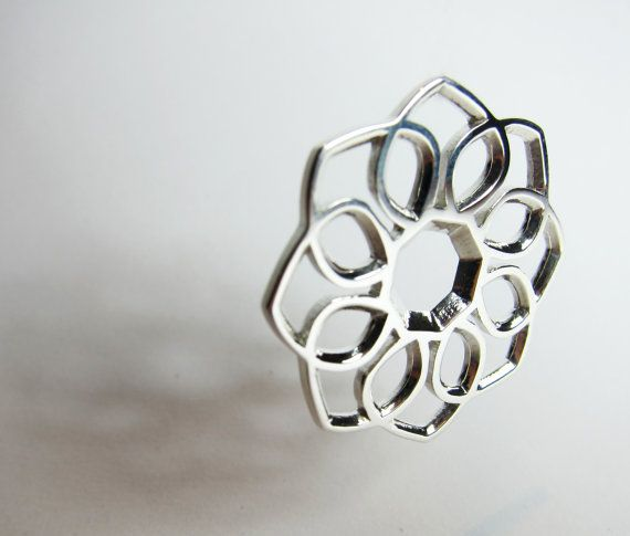 Polished Sterling Silver Flower Necklace by FacetiousDesigns