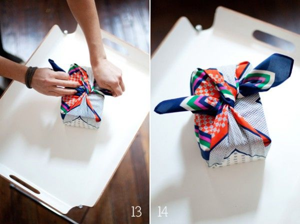 How to wrap a present in a vintage scarf. Wrapping paper alternative. Furoshiki wrapping. #tutorial #furoshiki #gift idea