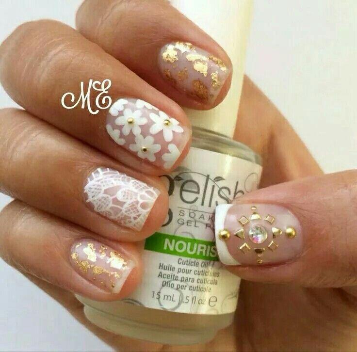 White and gold lace floral studded nailart #nailart @JenniferW