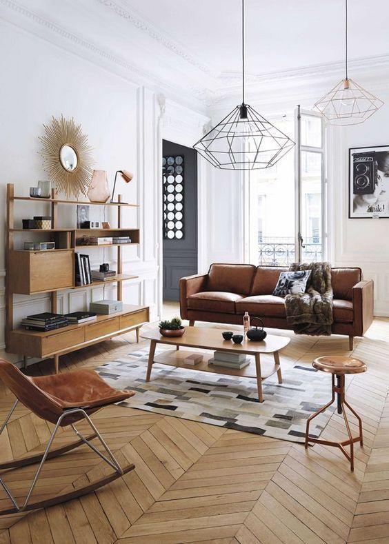 Camaïeu de marron dans ce salon moderne