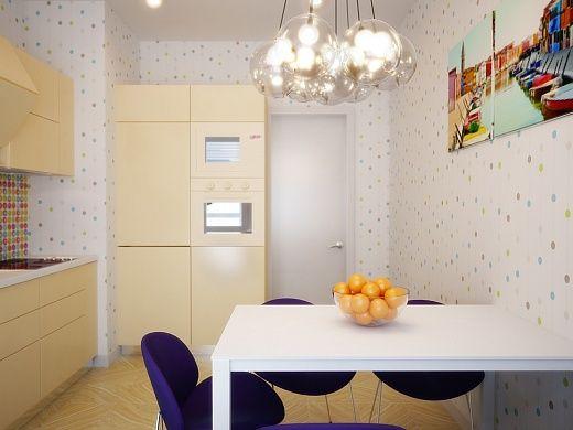Кухонный стол здесь белый, ярким дополнением к которому служат стулья с синей обивкой из искусственной кожи. Из элементов декора – на стене над обеденным столом висит комплект постеров «Краски реки».