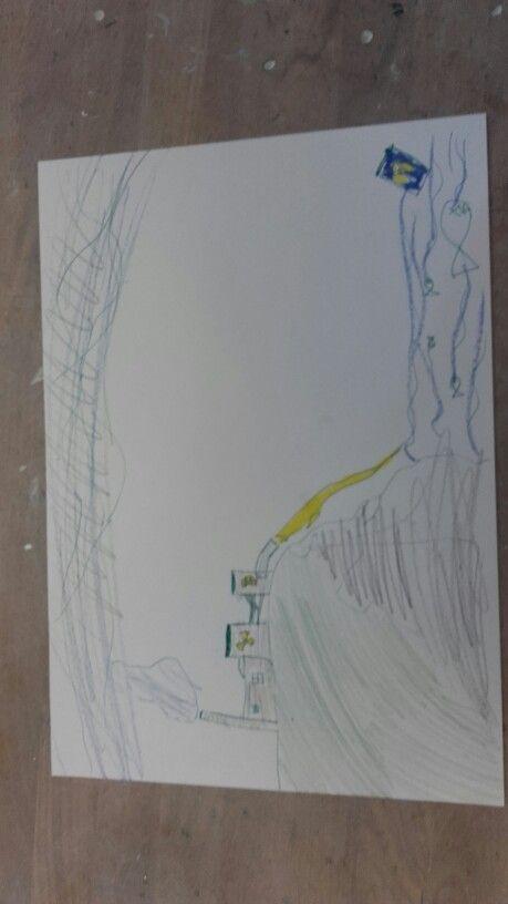 Dit is die tekening je ziet een kerncentrale en dat die allemaal afval in de oceaan dumpt. Maar hij was niet zo goed omdat het niet een beeld was maar meer een soort stripverhaal.