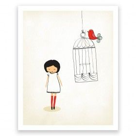 Little One Birdcage - Art Print