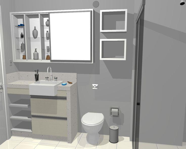 Pequenos Banheiros: armario pouco profundo com espelho em porta corrediça