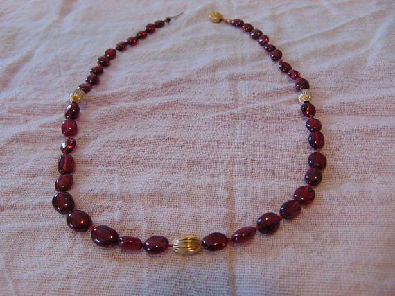 vintage highly polished genuine garnet necklace gold spacers