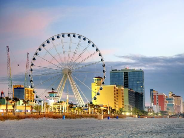 Myrtle Beach is the crown jewel of South Carolina's Grand Strand, a 60-mile stretch of white, sandy beaches along the Atlantic seaboard that draws surfers, fishers, and kayakers. Description from groupon.com. I searched for this on bing.com/images