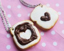 Chocolate en tostadas amistad collares, joyas de la alimentarios, comida miniatura, regalo de cumpleaños, collar de amistad, amigo collar, collar de bff