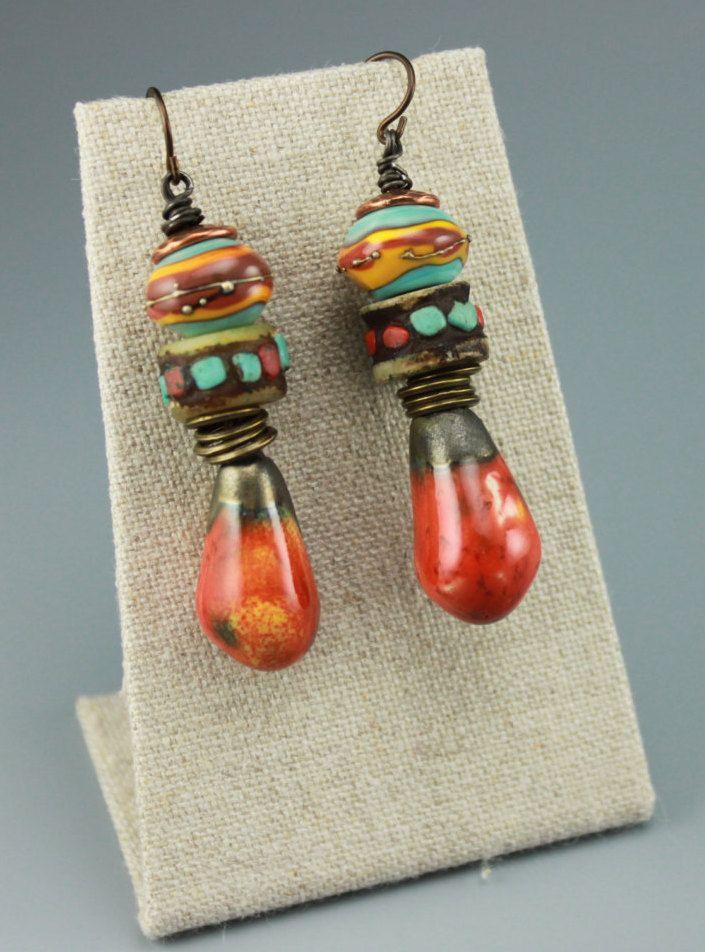Rustic Boho Earrings, Boho Earrings, Hippie Earrings, Rustic Hippie Earrings, Tribal Earrings, Primitive Earrings, Orange Earrings, #628-114 by ChrisKaitlynJewelry on Etsy