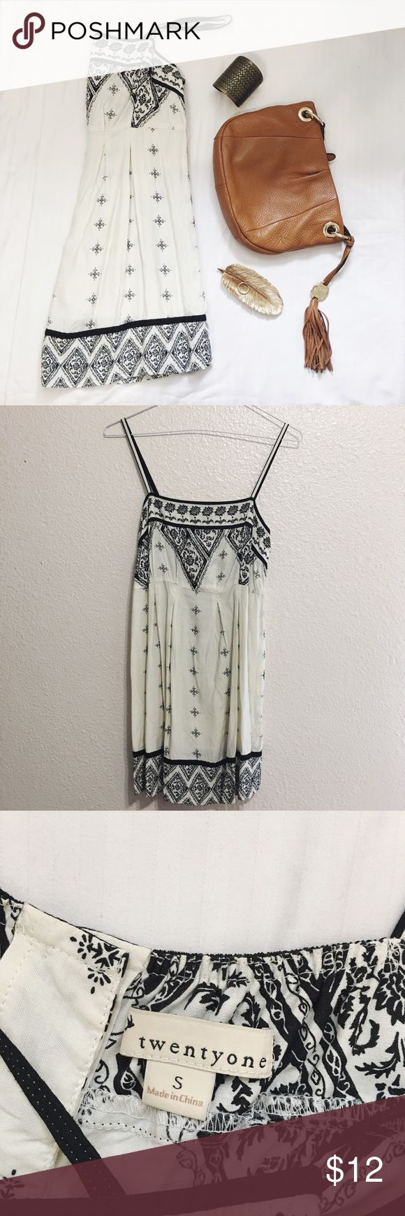 Tribal Print Dress Forever 21  Tribal styled dress Adjustable strap Belt hook but not included  Back is buttoned Size: S Used; little stain shown on pics (unnoticeable)  Other items NOT included ‼️  All sales are final/ NO return or exchange  #dress #tribalprint #forever21 #forever21dress Forever 21 Dresses Mini