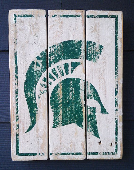 Taking orders---Michigan State, Spartans, Vintage-looking Pallet wood hand made, hand painted sign on Etsy, $38.00