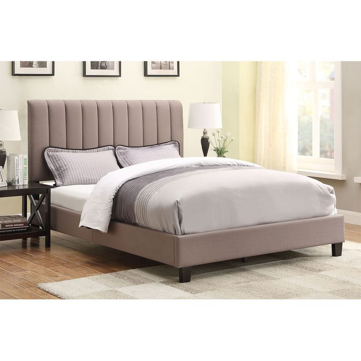 Chic Contemporary. Made for looks as well as function, the Chanel Queen bed blends cool styling with a low profile. Its taupe linen-like upholstery bears vertical channeling for a charming visual detail. The headboard height can be adjusted to accommodate different mattress thicknesses. (Mattress set and pillows are not included.) A web-exclusive product. Item is not displayed in store, but may be ordered there. Customer assembly is required.
