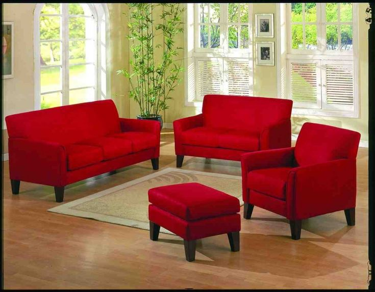 Red Leather Living Room Set