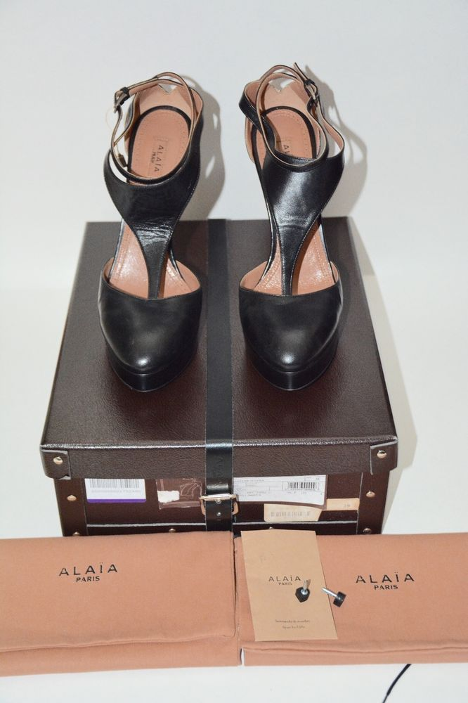 Alaia black pumps platform double ankle t strap leather stiletto ... THESE are one of the most SEXIEST pair of shoes that I have found!!! WHEN I HIT THE LOTTO!!! ... pERRY