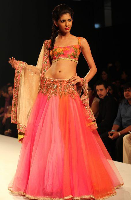 Gujarati Dresses - Anushree Reddy Pink Silk Lehenga Choli , $460.00 (http://www.gujaratidresses.com/anushree-reddy-pink-silk-lehenga-choli/)
