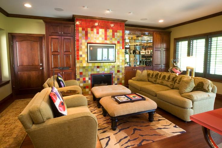 Get The Look: Eclectic Green Living Room >> http://photos.hgtv.com/rooms/viewer/living-space/global-living-room-with-multicolor-barcelona_style-hearth?soc=pinterest