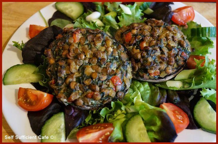 Self Sufficient Cafe: Specials Board: Lentil Stuffed Mushrooms