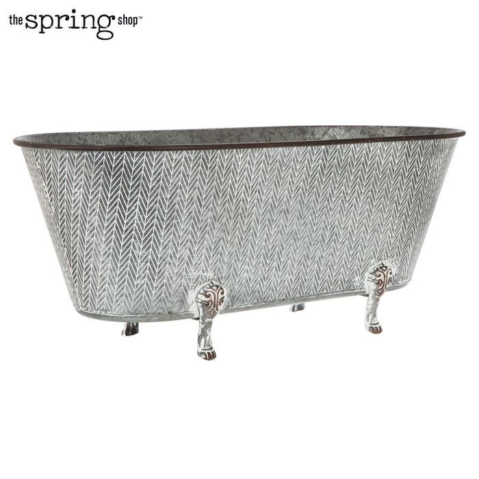 Herringbone Galvanized Metal Planter Large With Images Metal