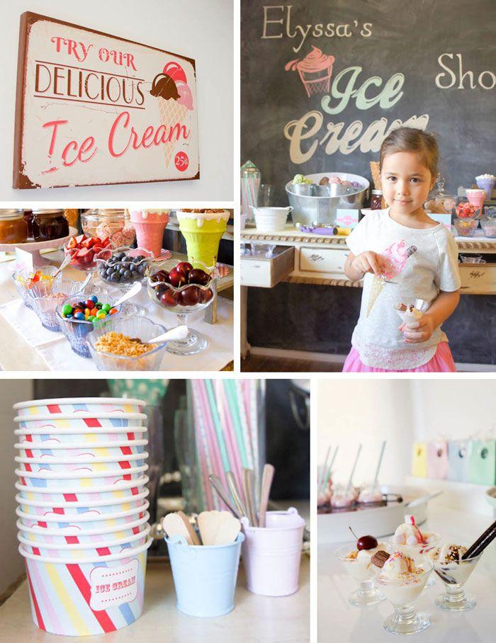 Ice Cream themed birthday party FULL of CUTE IDEAS via Kara's Party Ideas | KarasPartyIdeas.com #icecreamshoppe #icecreambuffet #icecreamsoc...