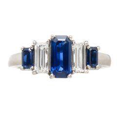 Oscar Heyman Diamond Sapphire and Platinum Ring