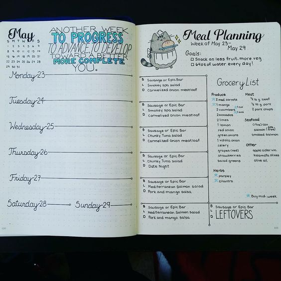 meal planning bullet journal spread