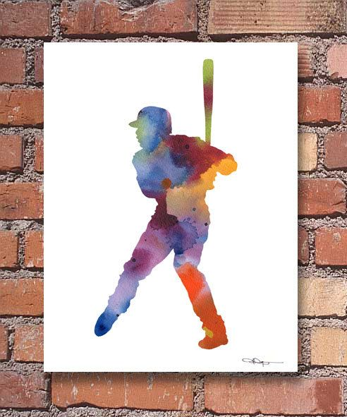 Baseball Art Print - Abstract Watercolor Painting - Wall Décor  This is a professional quality giclee print from my original hand painted watercolor printed on acid free watercolor paper with archival inks to look and feel like the original.  Print sizes are:  5 x 7 inches 8.5 x 11 inches 11 x 14 inches 13 x 17 inches 10-pack Note Cards with envelopes - 4.25 X 5.5 inches  Please make your size selection before purchasing. Frame is not included.  Shipping:  5 x 7 and 8.5 x 11 prints are…