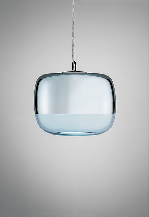 Satin Black and Blue with Mirroring glass ceiling pendant. Also available in Amber with Mirroring, Clear Amber and Clear Smoke
