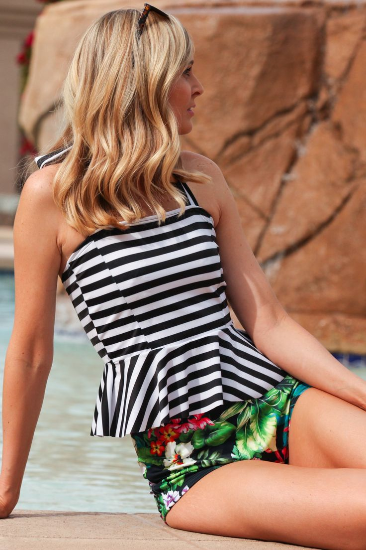 Poppy Peplum two piece swimsuit. Stripes and flowers modest swimsuits from Beverly Swimwear. High Waisted bottoms :)