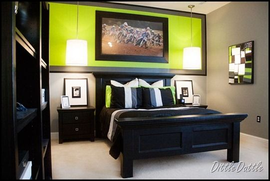 Gray black and lime green dining room | Black,-white,-gray-and-lime-green-Teen-Bedroom