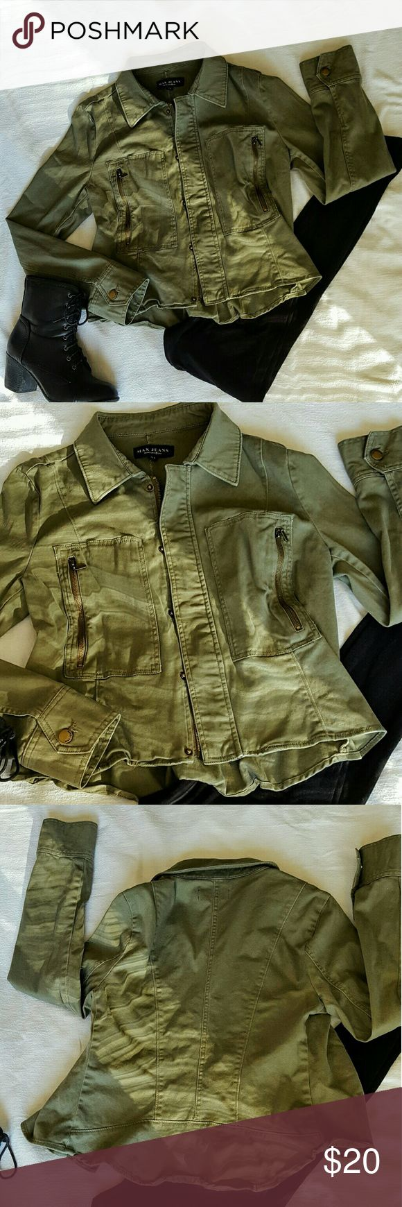 Max Studio Military Jacket Super cool army green jacket with zip and snap closure. Slight peplum gather in back adds feminine flare! Side pockets with zippers Max Studio Jackets & Coats Utility Jackets