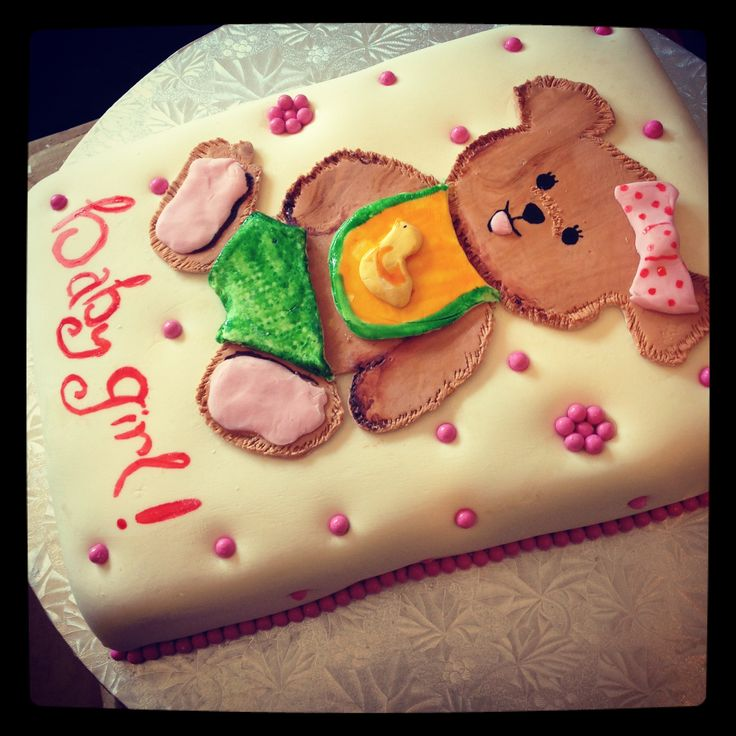 Vanilla baby shower cake teddy bear If you are in the Fort Lauderdale ...