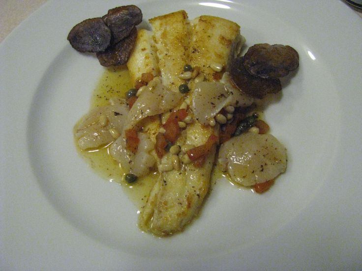 Halibut. Marinated scallops. Brown butter with lemon, capers, tomatoes ...
