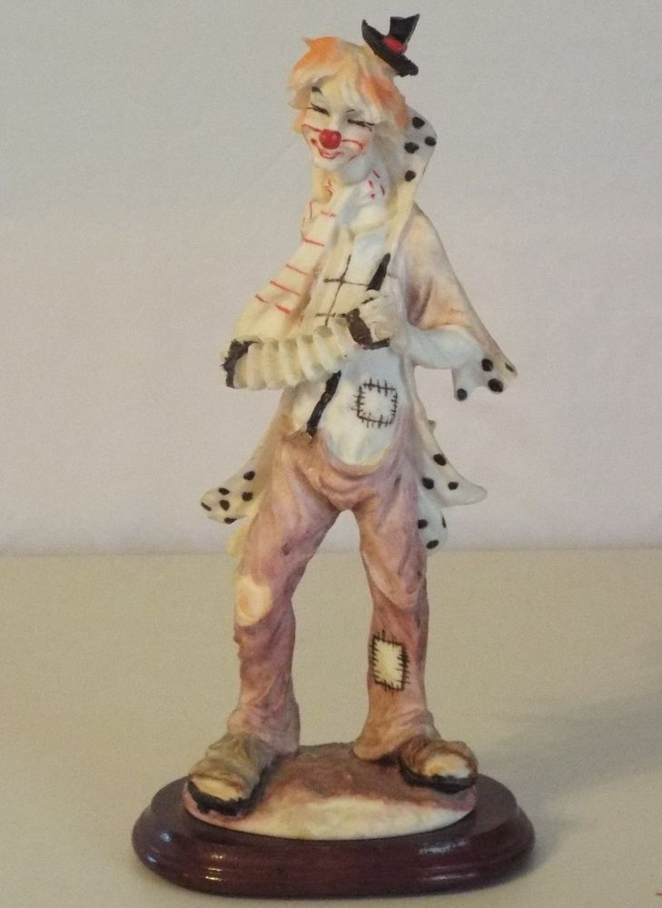 Tall Clown Statue With Accordion Instrument Open Toed Shoes Wooden Base