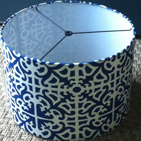 Drum lamp shade 15 X 10 blue and white geometric fabric / barrel lamp shade or pendant light shade via Etsy