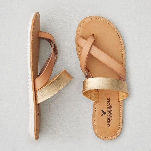 AEO Toe Ring Slide Sandals ($30) ❤ liked on Polyvore featuring shoes, sandals, beige, american eagle outfitters shoes, padded sandals, american eagle outfitters, toe loop sandals and toe-ring sandals
