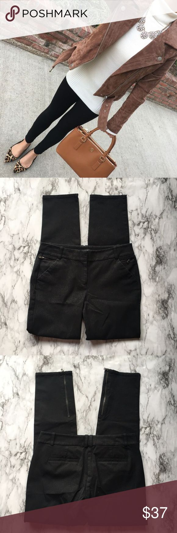 Ann Taylor Ankle Zip Ponte Pant Black professional looking ponte pants that zip at the ankle and on the top of the pant with the pockets. In excellent used condition.   Waist - 25 in. Inseam - 29 in. Outseam - 37 in. Leg opening - 23 in. Rise - 8 in. Hips - 35 in. NO TRADES  *PAT12BA Ann Taylor Pants Ankle & Cropped