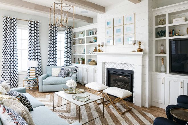 Family room. Family room with shiplap fireplace and brass accessories. #Familyroom