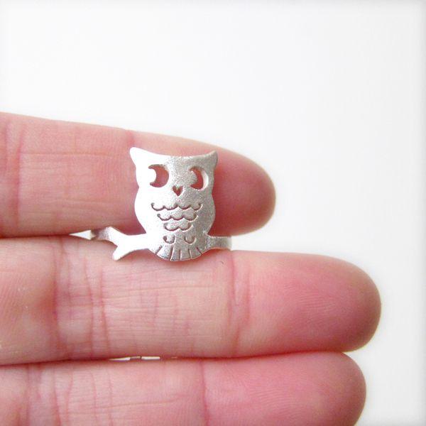 vogel ring - uil ring - zilveren ring - handgemaak van SmilingSilverSmith Zilveren Ring en Jewelry Shop op DaWanda.com