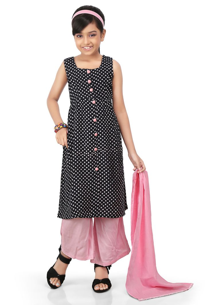 PRINTED RAYON PAKISTANI SUIT IN BLACK AND WHITE