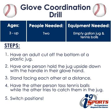 Simple catching drill without an actual baseball glove.  This will help kids learn how to catch! #tball #youthsports #i9Sports