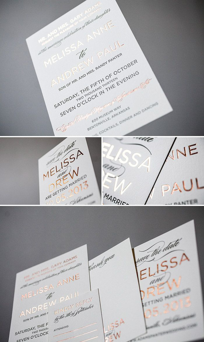 Modern letterpress and foil invitation in copper