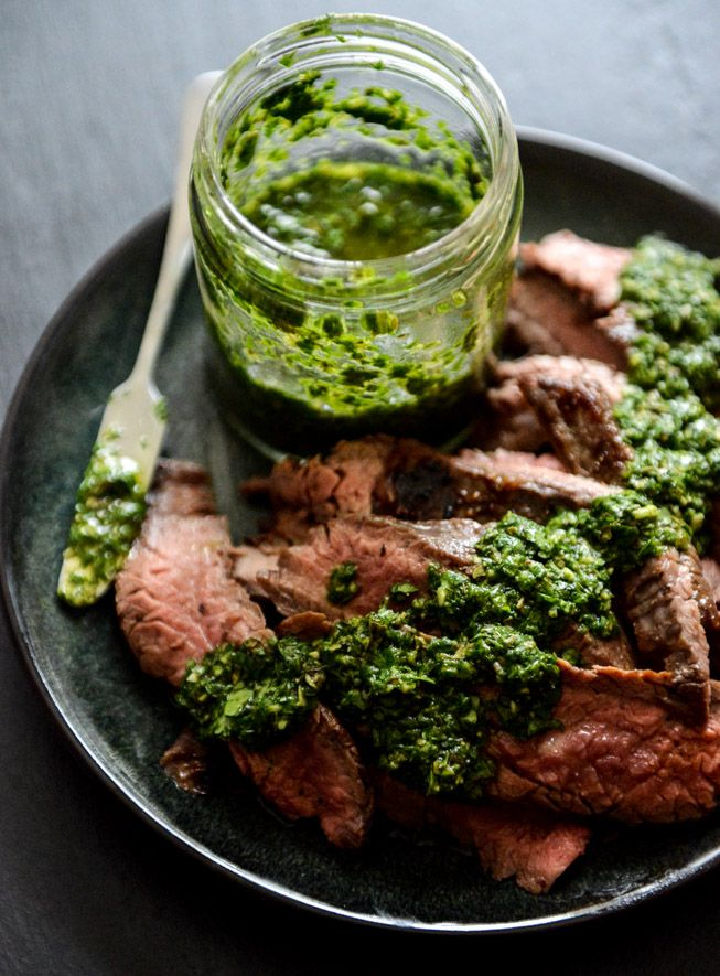 Garlic Brown Sugar Flank Steak with Chimichurri