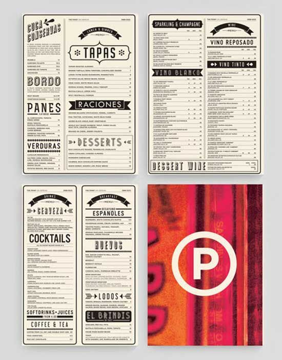 Typographic retro restaurant table menu design menu for Table menu restaurant