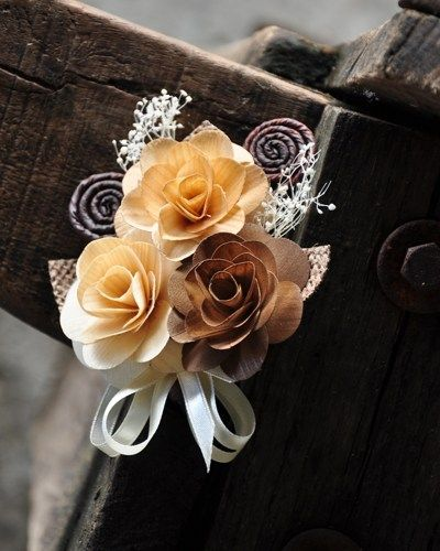 Neutral Brown, Ivory Burlap Corsage Brooch Pin | AccentsandPetals - Wedding on ArtFire
