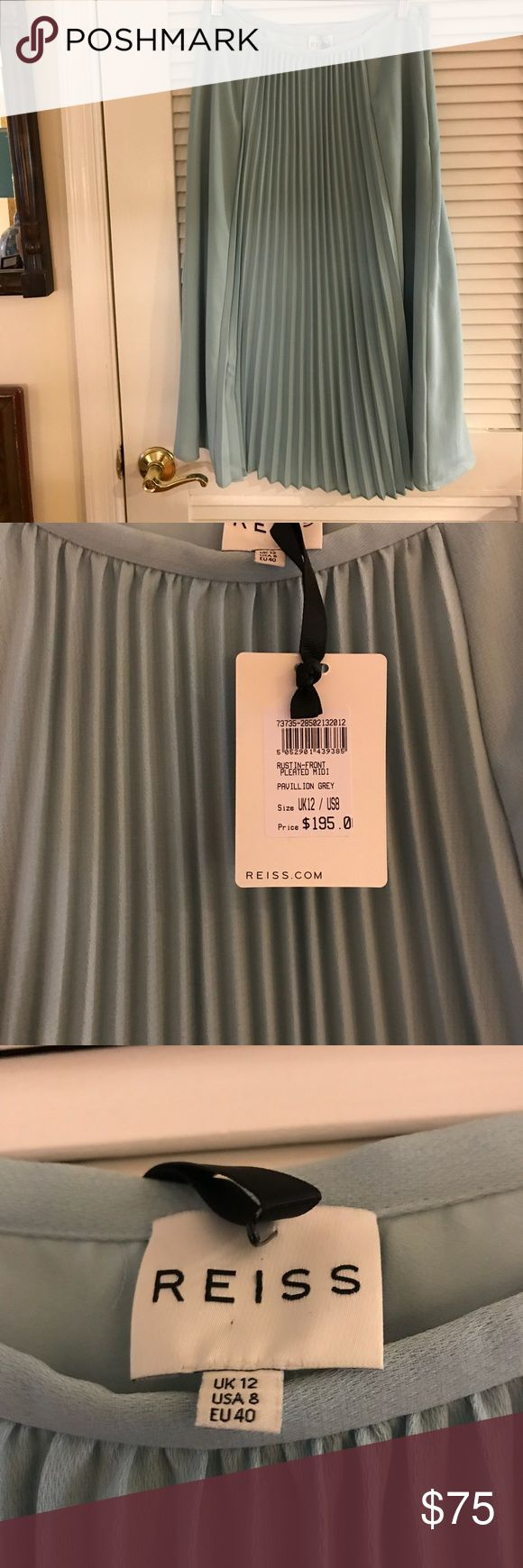 Reiss skirt — sz 8; NWT beautiful seafoam green/grey pleated midi Reiss skirt; brand new with tags Reiss Skirts