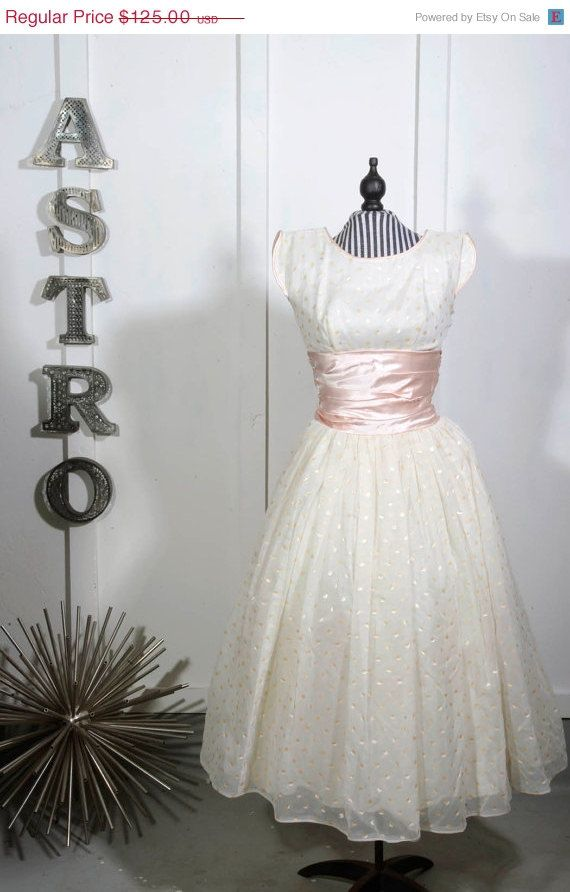 50% off moving sale 1950s Painted Pink Dot Chiffon Party Dress